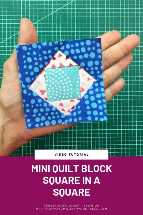 Mini quilt block Square in a square