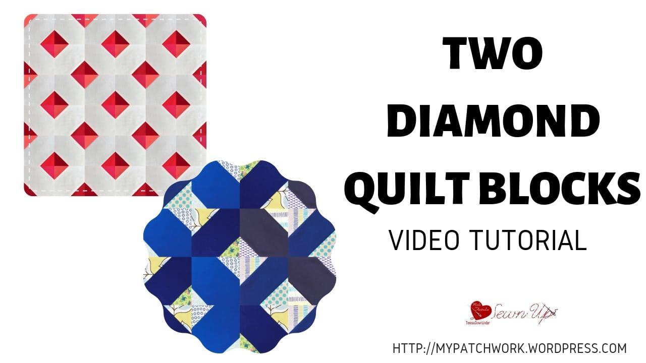 Two diamond quilt blocks video tutorial