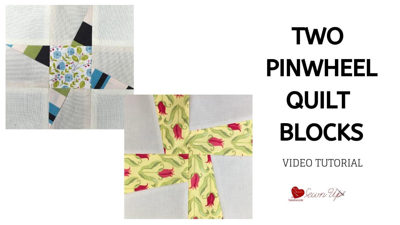 Two pinwheel quilt blocks video tutorial