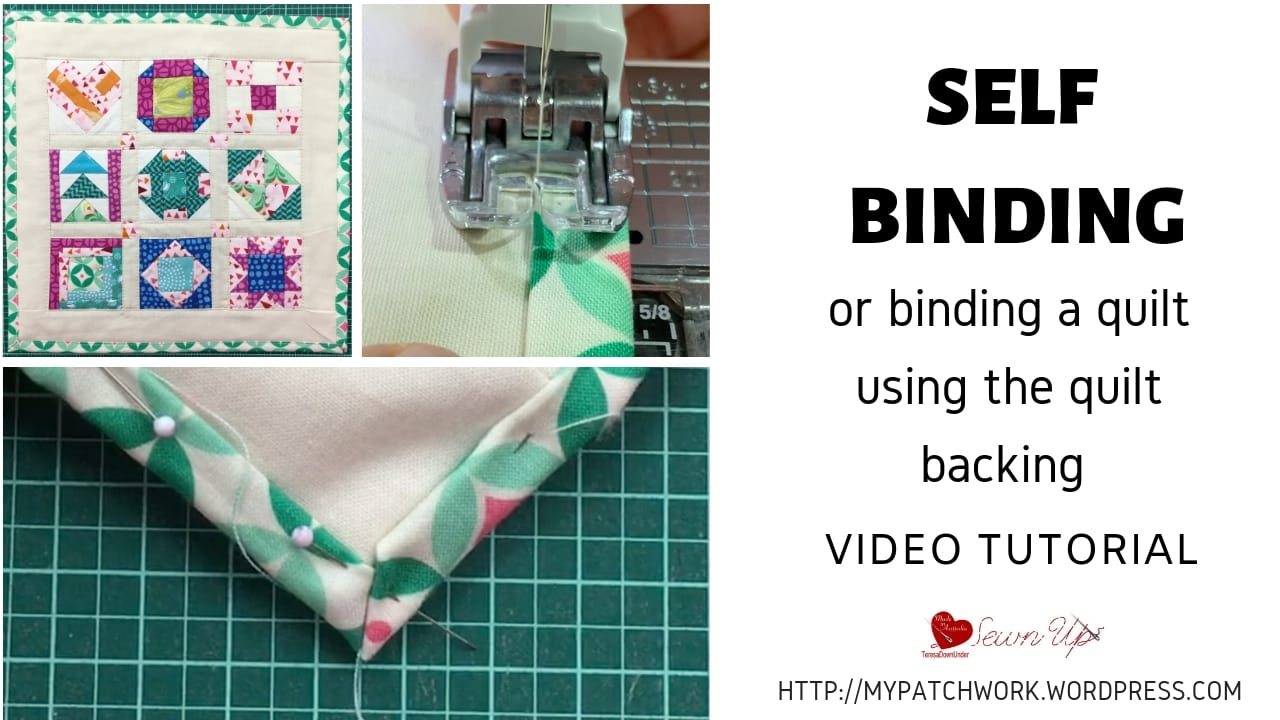 Self binding a quilt or binding a quilt with the quilt backing