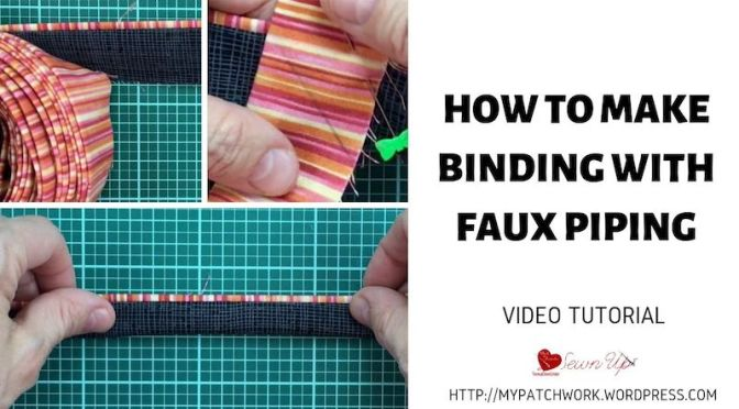How to make quilt binding with faux piping or a flange video tutorial – Turnabout patchwork QAL