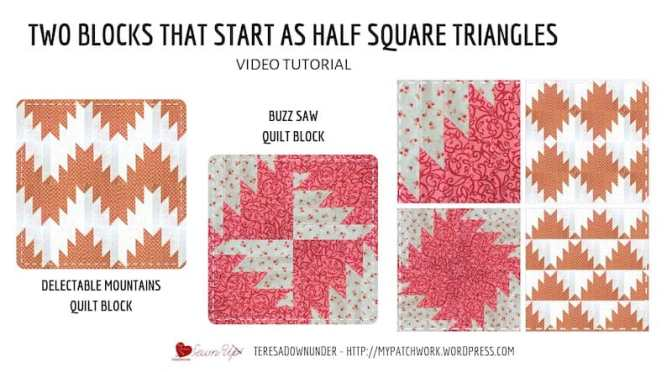 Two blocks that start as half square triangles (HSTs)