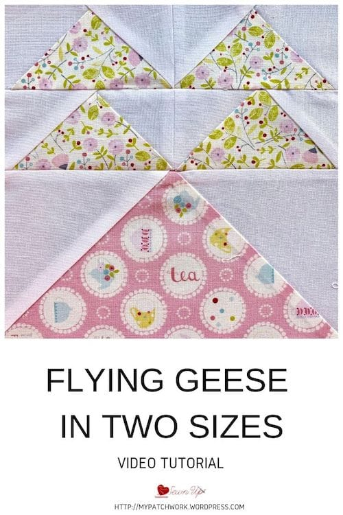 No waste flying geese quilt block in 2 sizes