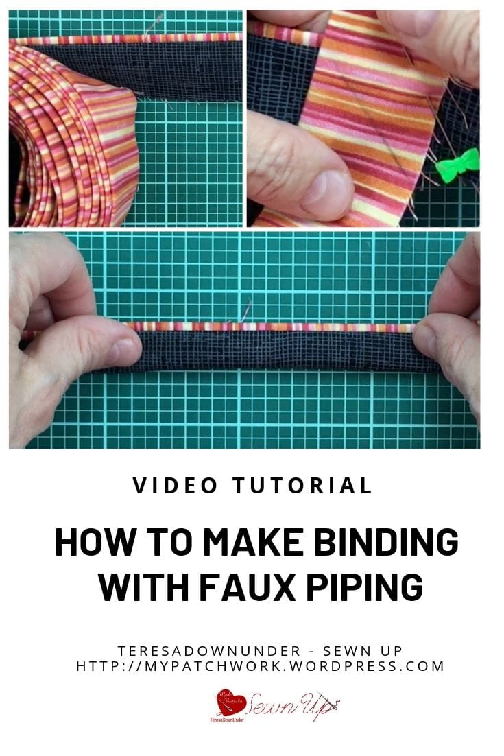 How to make binding with faux piping video tutorial