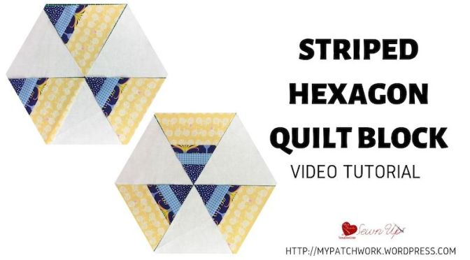 Striped hexagon quilt block