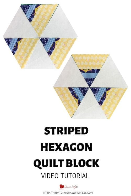 Striped hexagon quilt blocks