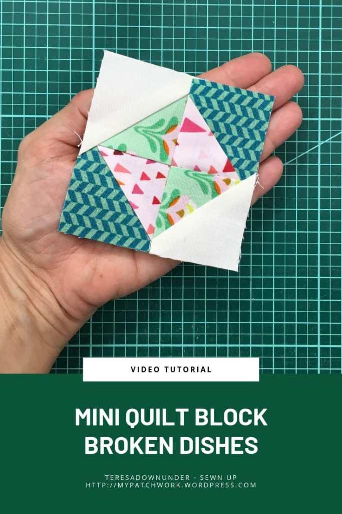 Mini quilt block broken dishes