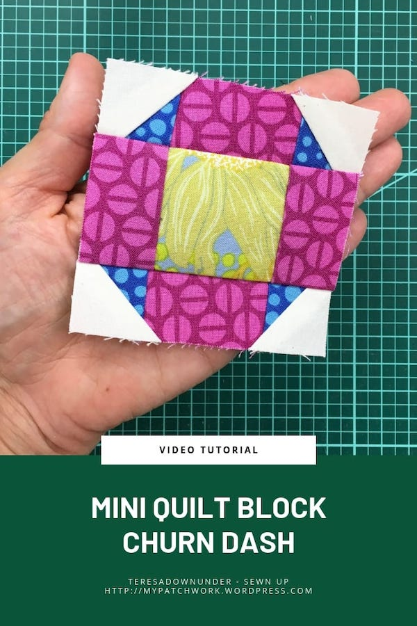 Churn dash quilt block - video tutorial