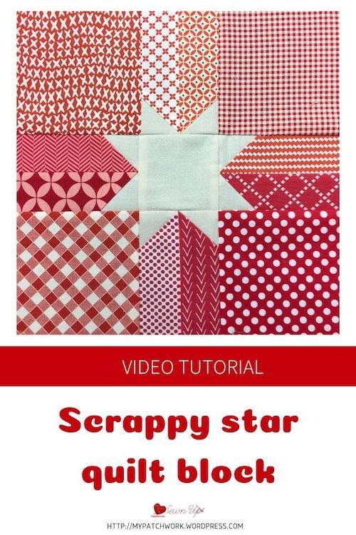 Scrappy star quilt block - video tutorial