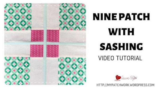 Nine patch quilt block with sashing