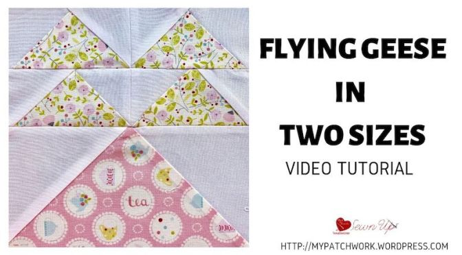 No-waste flying geese quilt block in 2 sizes