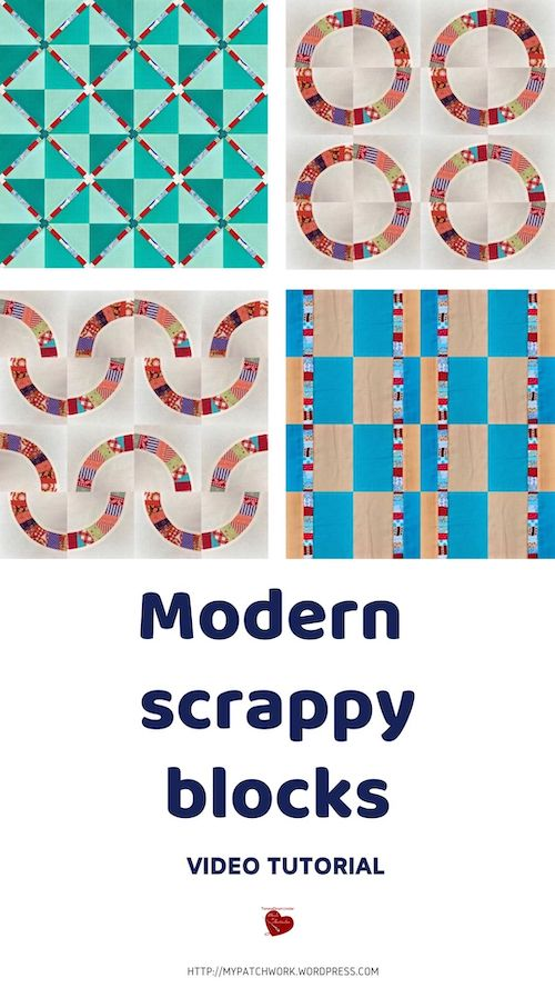 Three modern quilting blocks with fabric scraps video tutorial