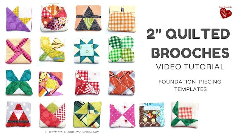 "2"" quilted brooches video tutorial"