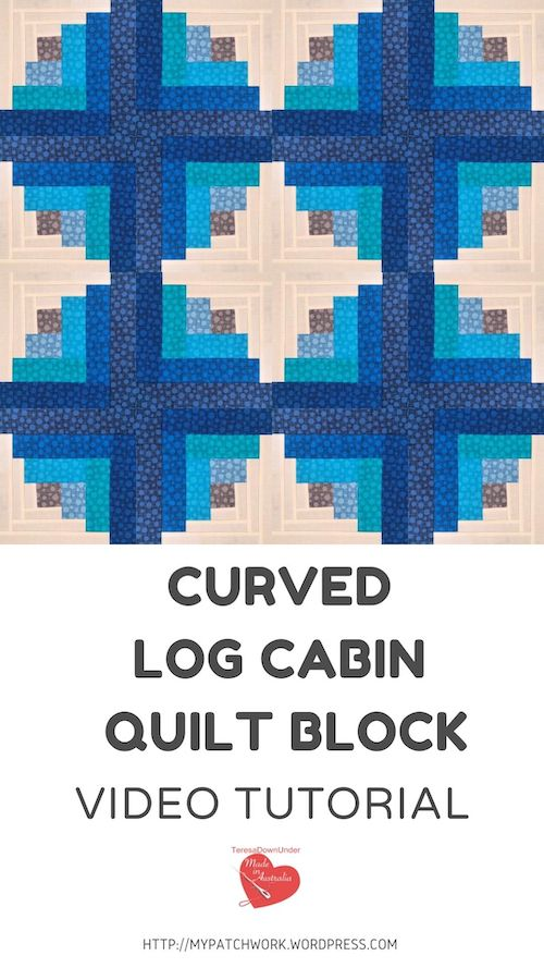 Curved log cabin quilt block video tutorial