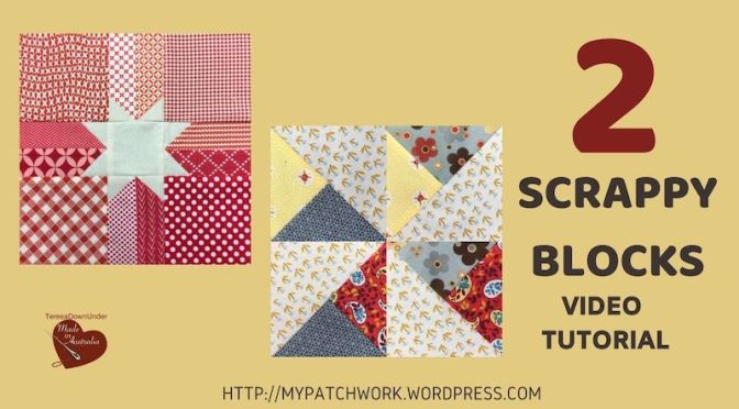 Scrappy star and pinwheel quilt blocks video tutorial