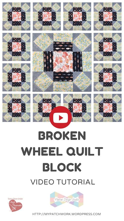 Broken wheel quilt block video tutorial