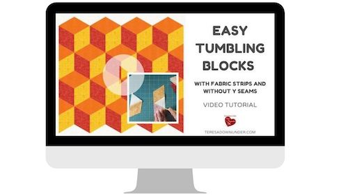 Easy tumbling blocks without Y seams - easy quilting video tutorials