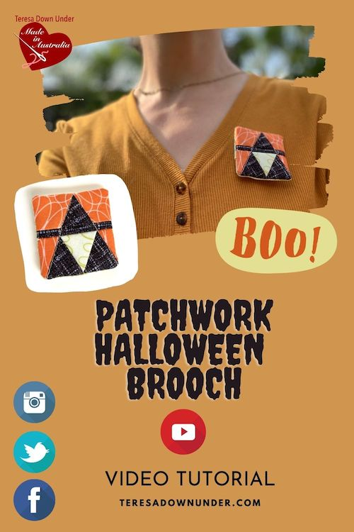 Patchwork Halloween Brooch video tutorial