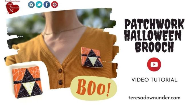 Halloween patchwork brooch video tutorial