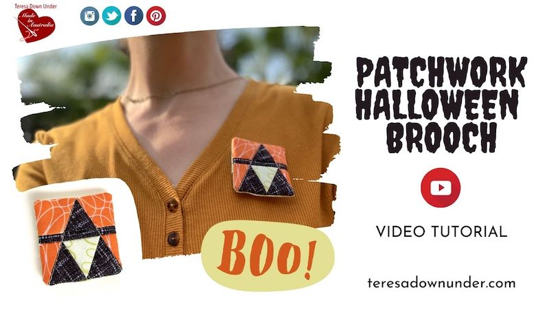 Patchwork Halloween Brooch video tutorial