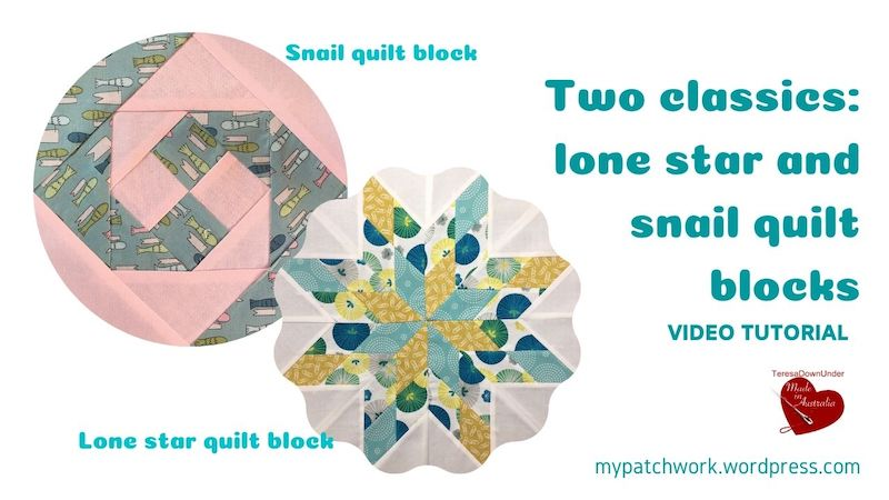 Two classic blocks: lone star and snail quilt blocks video tutorial