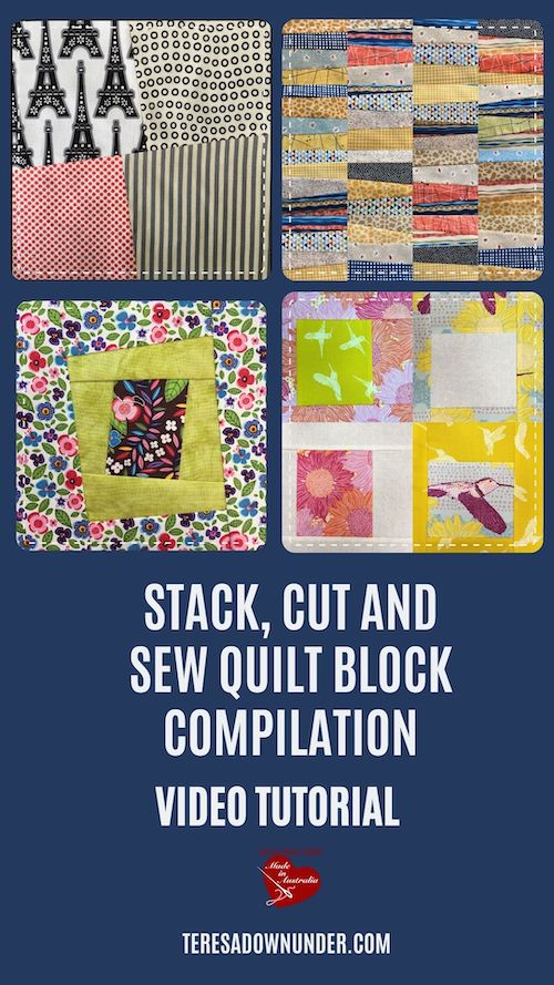 Stack, cut and sew quilt block compilation video tutorial