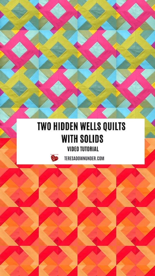 Two hidden wells quilts with solids - video tutorial