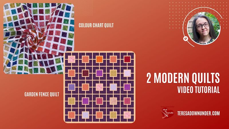 2 modern quilts: Colour chart quilt and garden fence - video tutorial