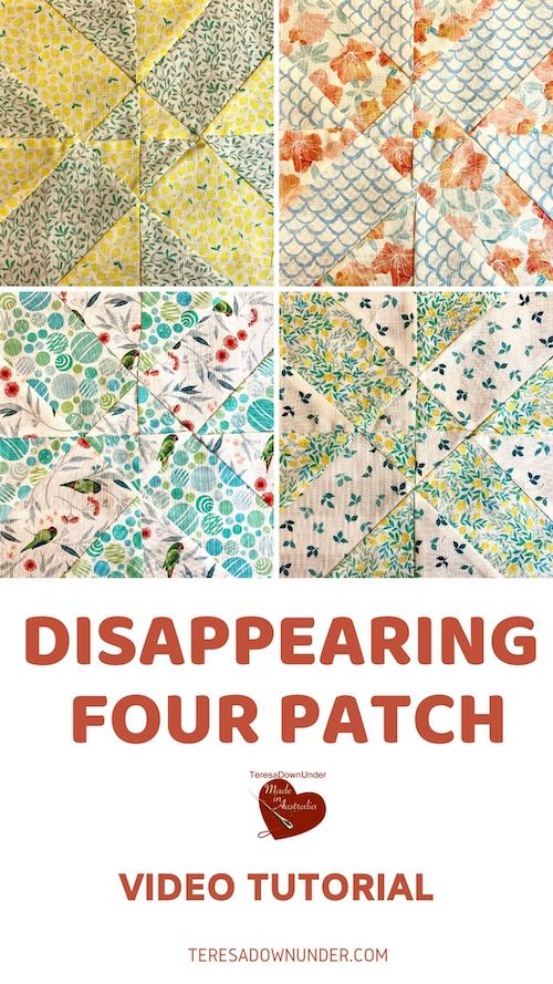 Disappearing four patch quilt block video tutorial