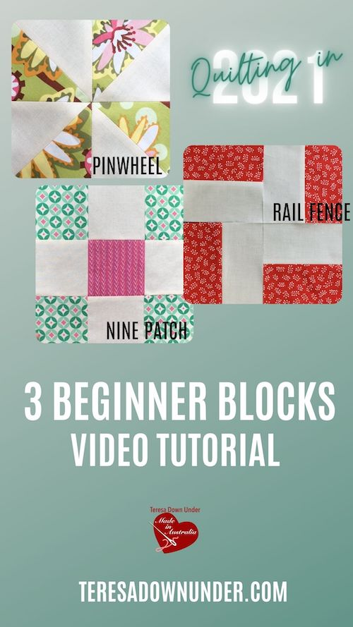 3 Beginner blocks video tutorial - Quilting in 2021