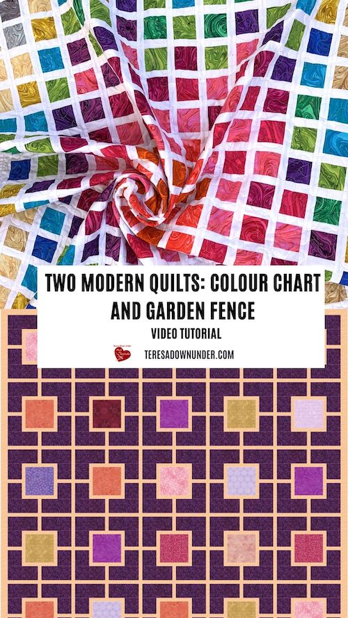 2 modern quilts: colour chart and garden fence - video tutorial