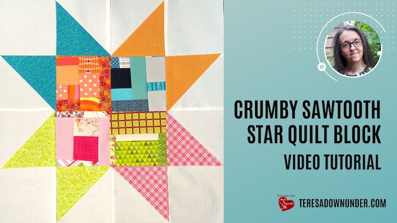 Crumby sawtooth star quilt block video tutorial