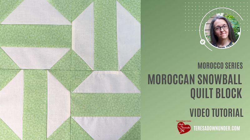 Moroccan snowball quilt block video tutorial
