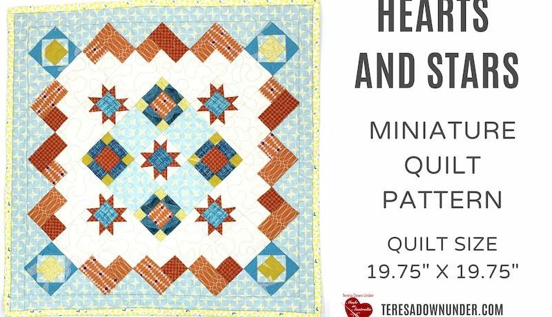 Hearts and stars miniature quilt pattern