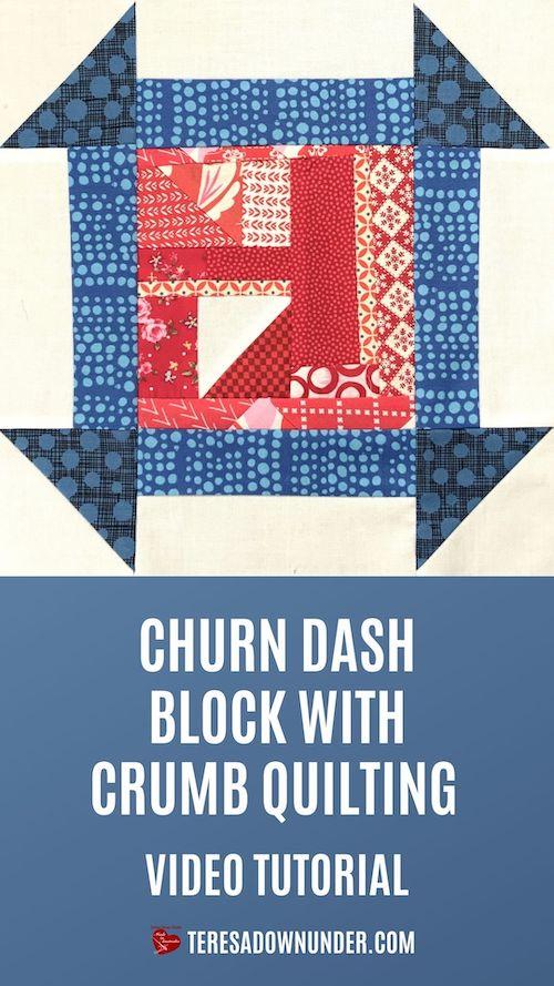 Crumby churn dash quilt block video tutorial