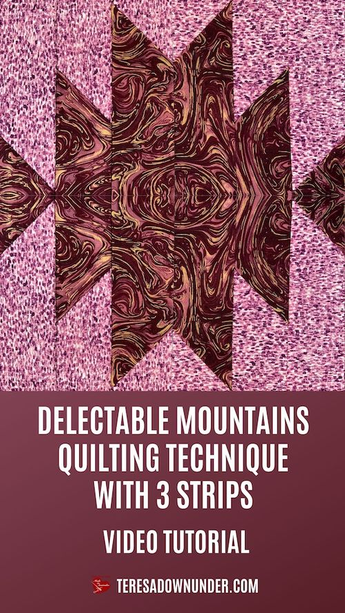 Delectable mountains quilting technique with 3 strips video tutorial
