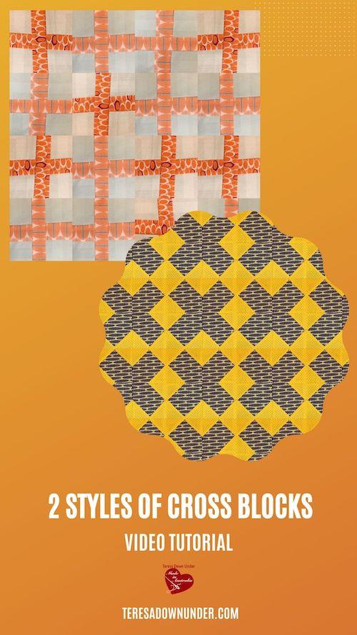 Two styles of cross quilt blocks vieo tutorial